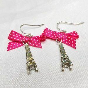Pink Polka Dot Bow Effiel Tower Fishhook Earrings